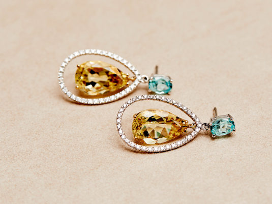Candy Candy - White Diamonds Yellow + Blue Stone